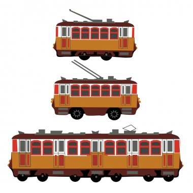 Vintage tram, electric train, trolleybus. Retro. Detail view of the side of the electric transport. Tourist tram. Yellow tram, trolleybus, train. illustration