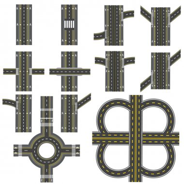 Set of different road sections with a circular dvizheniemi isolation. Transitions, turns and various intersections. series depicts the sidewalks, marked bicycle lanes. View from above. illustration
