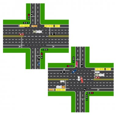 Junction Highway. roads, streets. The movement is regulated by traffic lights. Images of various cars, lanes for public transport. View from above. illustration