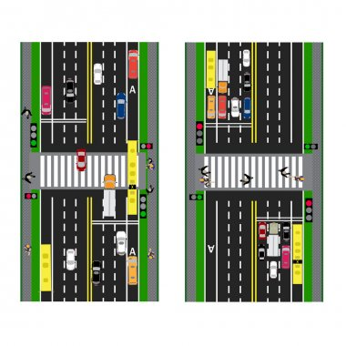 Highway Planning. roads, streets and traffic lights with the transition. Image sidewalks, transition lanes for public transport. View from above. illustration