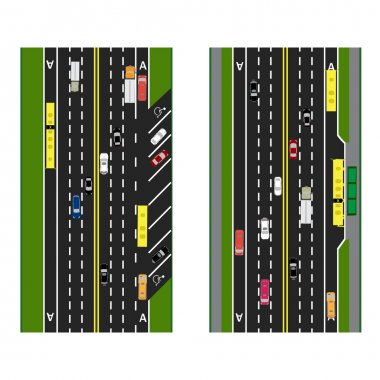 Highway Planning. roads, streets with parking and public transport. Images of various cars, lanes for public transport. View from above. illustration