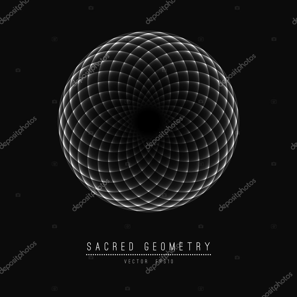 Flower of Life. Sacred Geometry. Symbol  Harmony and Balance. Vector Illustration.