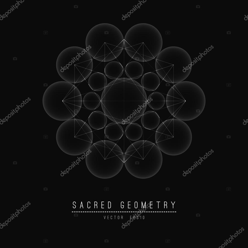 Flower of Life. Sacred Geometry. Symbol  Harmony and Balance. Vector Illustration.