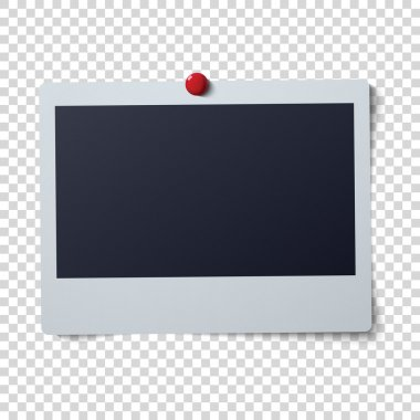 Polaroid frame vector illustration . Single instant photo with black space for image