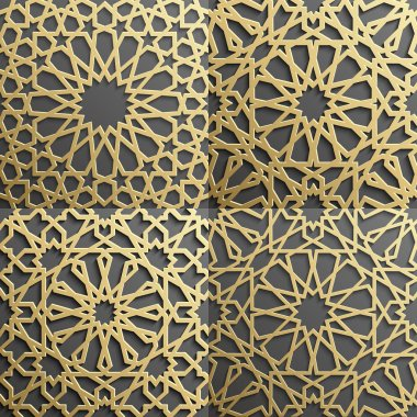 Islamic pattern set of 4 ornaments.Seamless arabic geometric , east ornament, indian , persian motif, 3D. Endless texture can be used for wallpaper,  fills, web page background,surface textures.