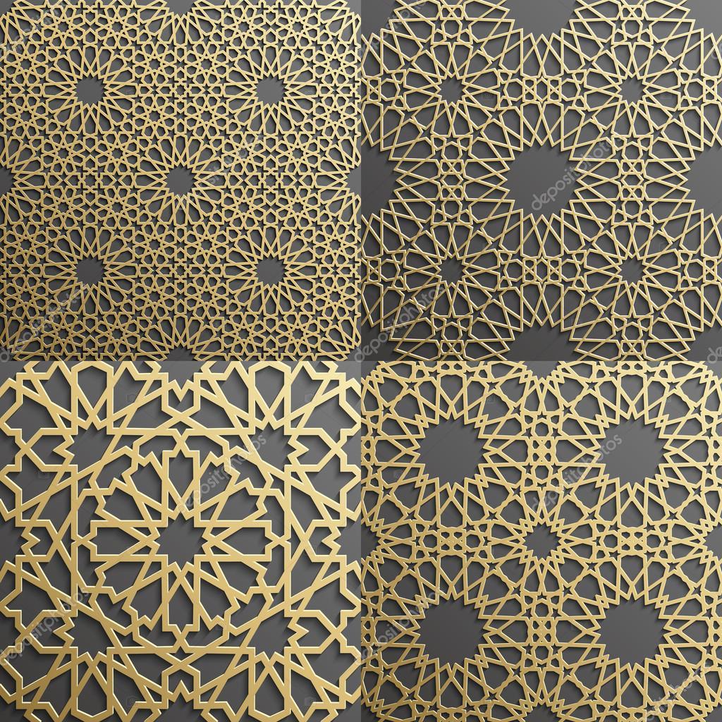 Islamic Pattern Set Of 4 Ornamentsseamless Arabic Geometric