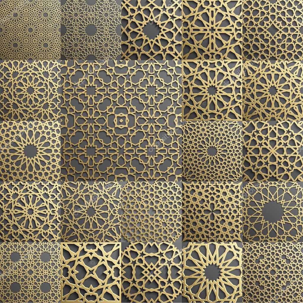 islamic pattern set of 22 ornaments seamless arabic geometric east ornament indian persian motif 3d endless texture can be used for wallpaper fills web page background surface textures stock vector c damiengeso 124129950 https depositphotos com 124129950 stock illustration islamic pattern set of 22 html