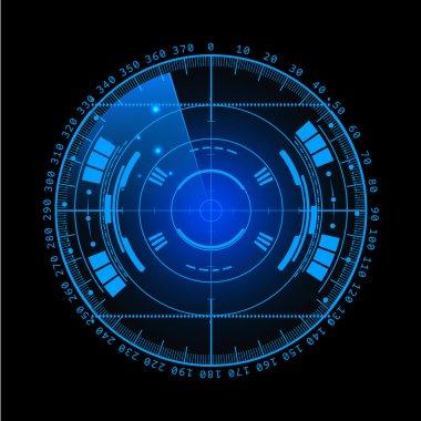 Radar screen. illustration for your design. Technology background. Futuristic user interface. Radar display with scanning. HUD. .