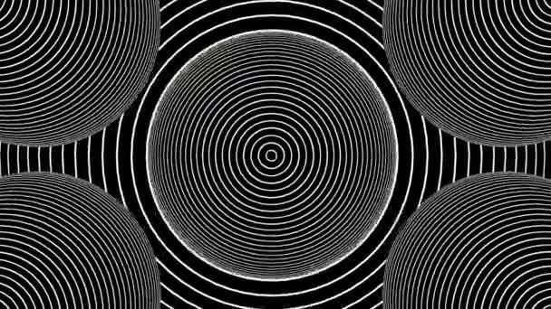 Optikai illúzió fekete-fehér zökkenőmentes hurok hipnotikus körök háttér. Körök hipnotikus animáció mozgás illúzióval HD felbontásban. 3D szürrealizmus vonal művészet.