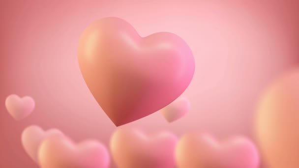 3d heart render seamless loop 4k. 3D Render of romantic background for valentines day 14 february. Love heart background for Wedding or mothers day.