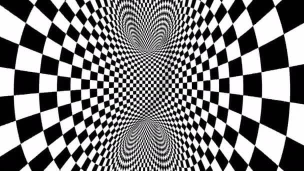 4k Nahtlose Schleife. Schach Illusion geometrisches Kaleidoskop. Wurmlochzimmer. Optischer Täuschungstunnel in Schwarz-Weiß. Schachbrett bewegt sich.