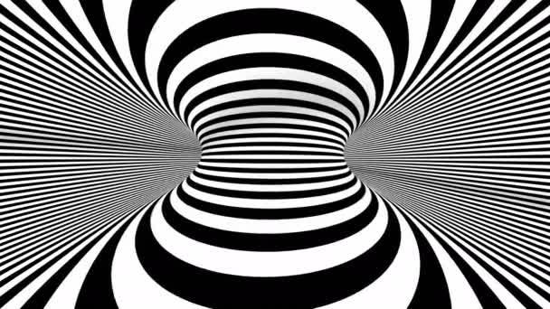 4k Nahtlose Schleife. Abstrakte schwarz-weiße dreidimensionale geometrische Wurmloch-Bewegungsgrafiken. Gestreifte optische Täuschung. Optischer Täuschungstunnel in Schwarz-Weiß. Linien des Surrealismus bewegen sich.
