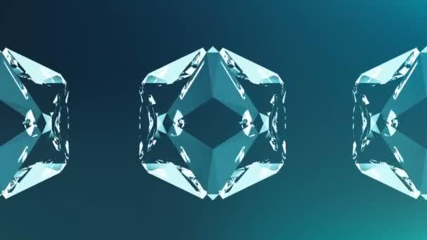 Abstraktní animace z modrého krystalu. Bezešvé smyčky 4k. Retro vintage abstraktní modré pozadí.