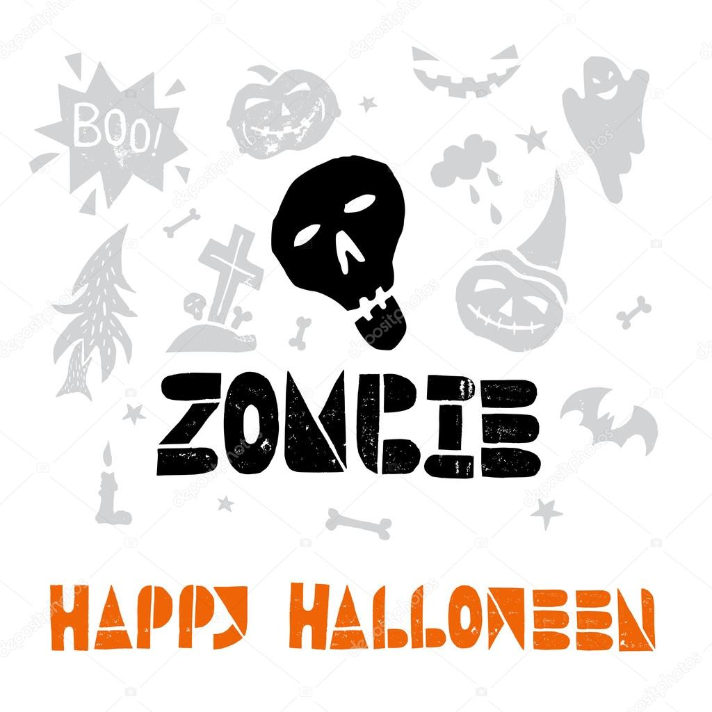 zombie. happy halloween elements — stock vector © spenceriansisters