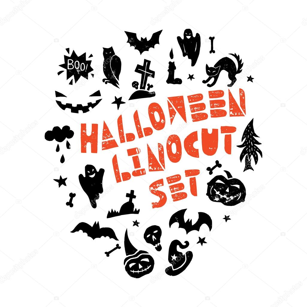 halloween lino cut elements — stock vector © spenceriansisters