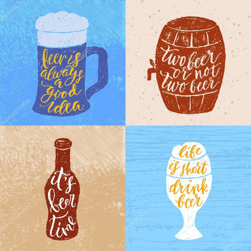 Frases Sobre Cerveja Para Um Pub Vetores De Stock