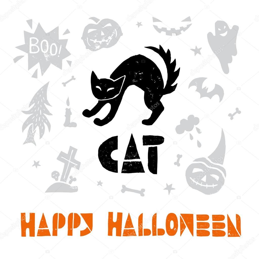 happy halloween with black cat. — stock vector © spenceriansisters