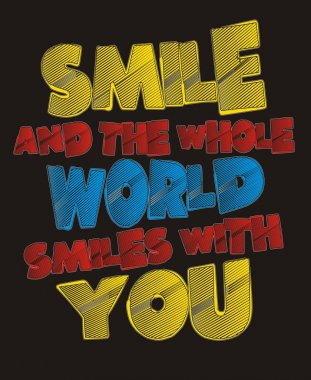 Graphics typography vector smile and the whole world