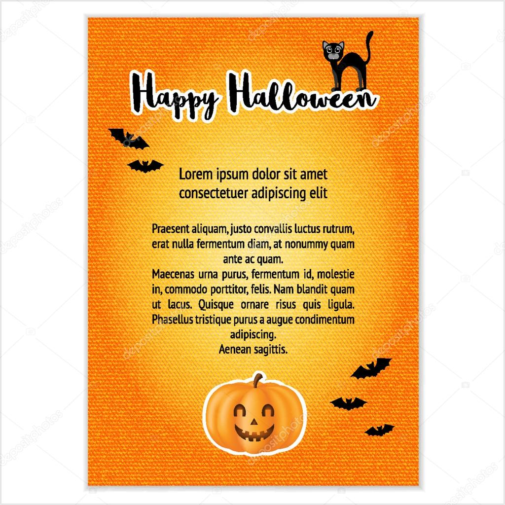 Vector template for design invitation for Halloween. Pumpkin, bat ...