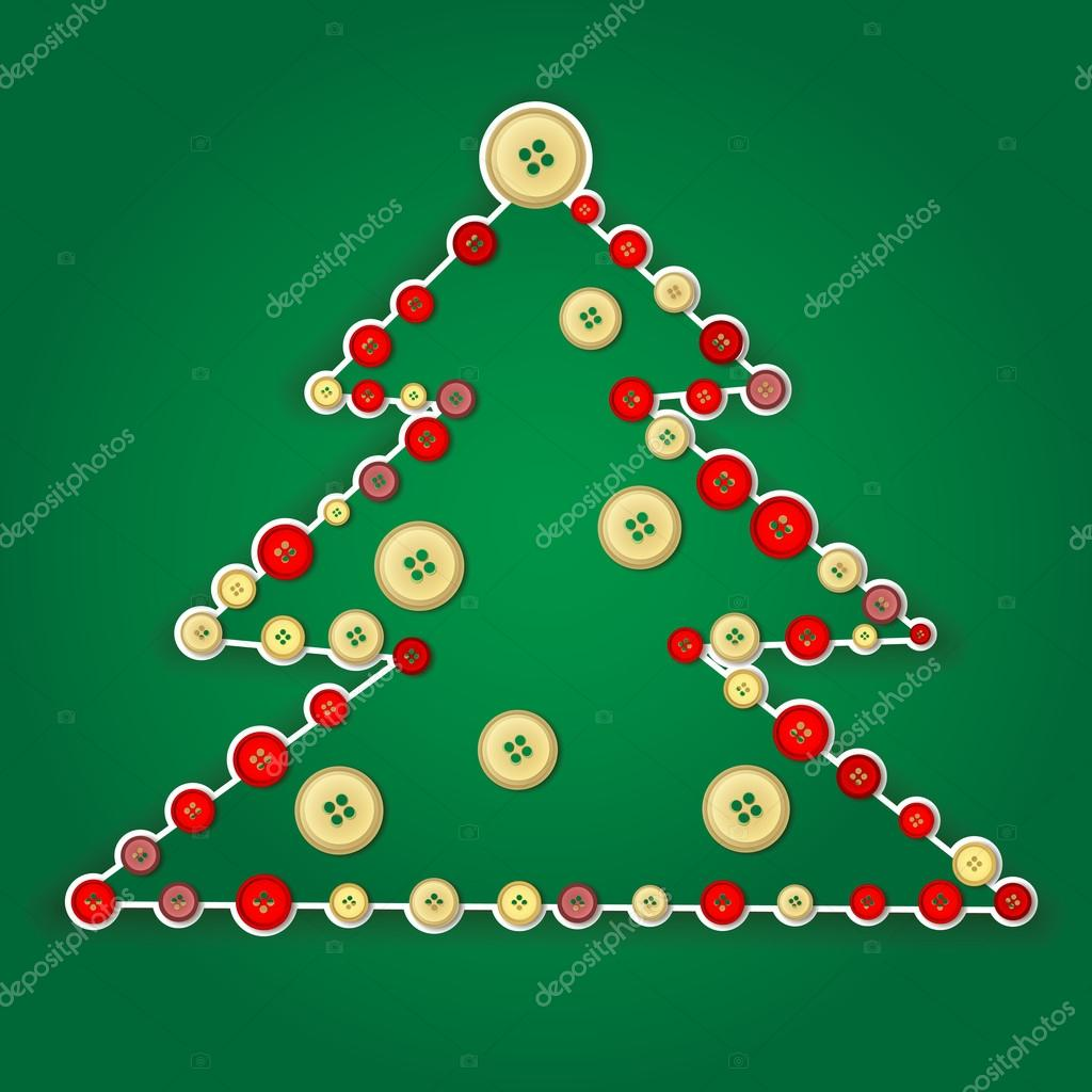 Vector Christmas Tree Style Hendmayd Buttons Sewn On To The Tree