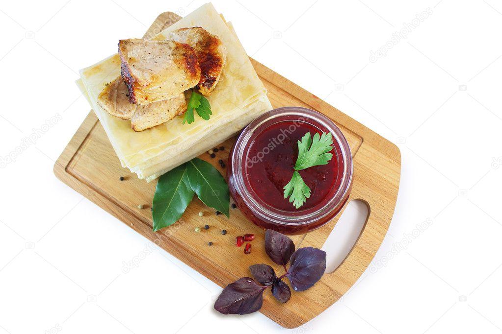 Salsa di melograno in cucina nazionale caucasica — Foto Stock ...