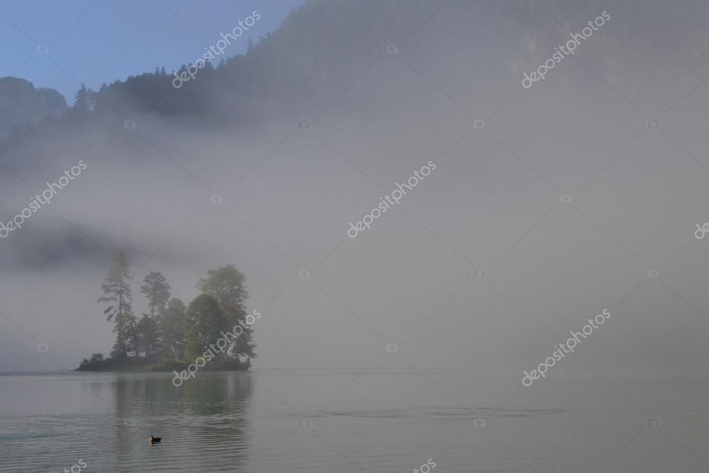 Фотообои Look on a small island with trees in the lake with fog around at the morning. Germany - Konigssee lake.