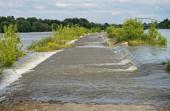 Wasser läuft über Straße wegen überfluteten Flusses. Das Hochwasser überflutete die Straße in Flussnähe, grüne Pflanzen stehen am Straßenrand, oben ist der Himmel bewölkt. Donau aus Flussbett, Straubing, Deutschland