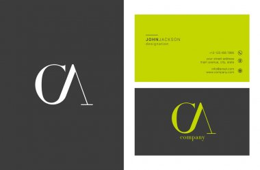 CA Joint Letters Logo with Business Cards Template Vector stock vector
