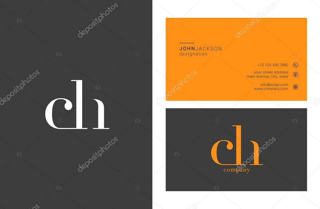 Ch Mixte Lettres Logo Avec Des Cartes De Visite Template Vecteur Par Brainbistro