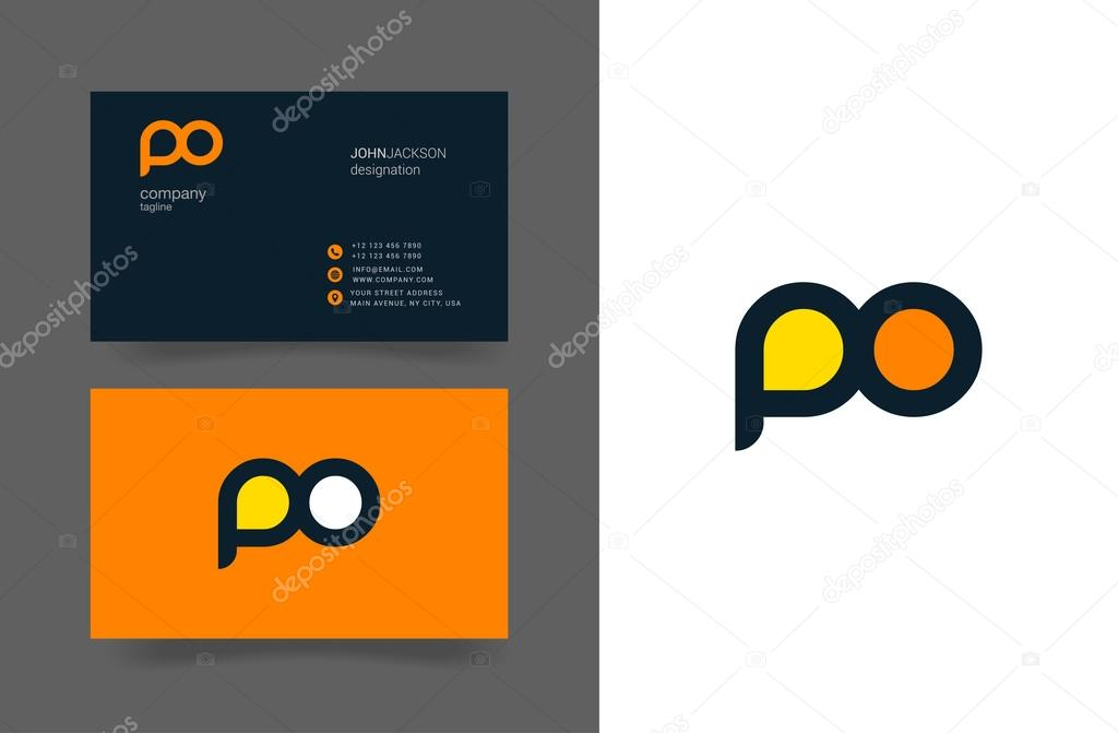 Po Letters Logo Business Cards Stock Vector C Brainbistro 124887714