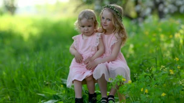 Dvě roztomilé holčičky v rozkvetlém jarním parku. Pár šťastných dětí. Rodinné dítě a sestra životní styl odpočívají venku.