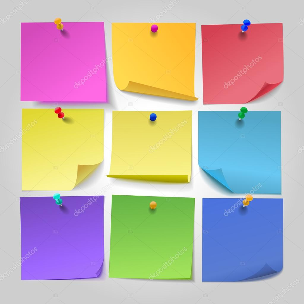 Colored paper sheets for notes