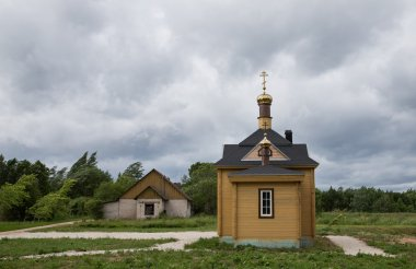 Old religion chapel by lake Peipus