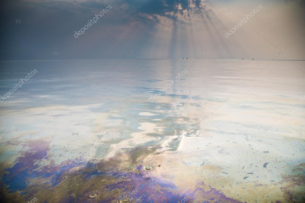 Oil spill on the ocean in Bangladesh