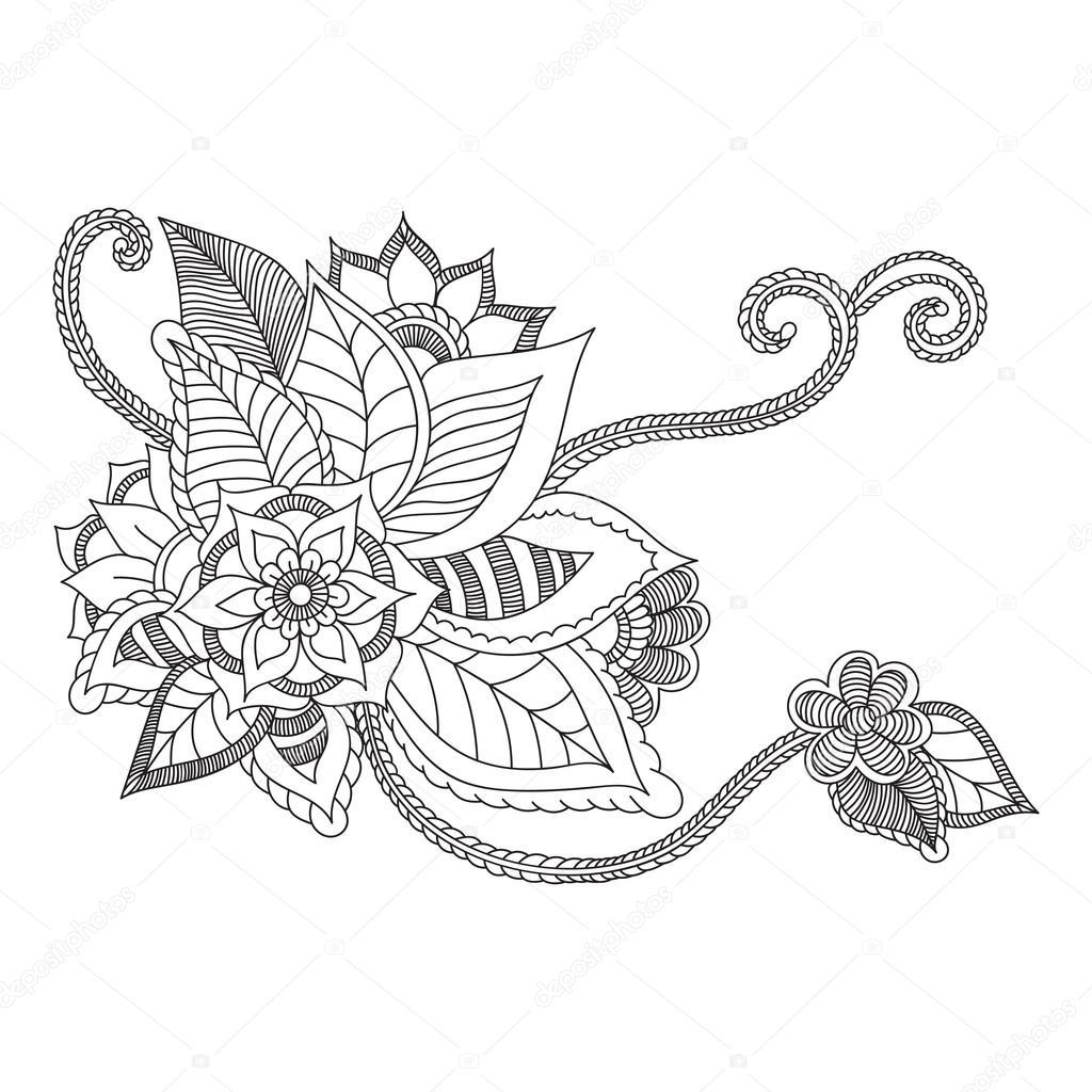 Zentangle Flores Abstratas Flor Do Doodle Ilustracao Vetorial