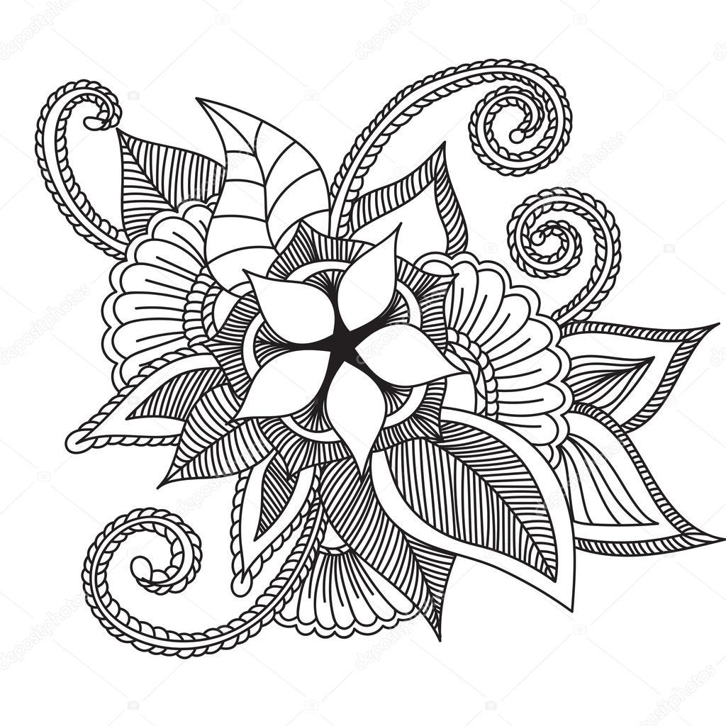 Zentangle Abstract Flowers Doodle Flower Vector Illustration