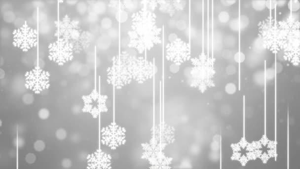 Vánoční pozadí zimních sněhových vloček pomalu klesá Lehký slavnostní gradient smyčka.