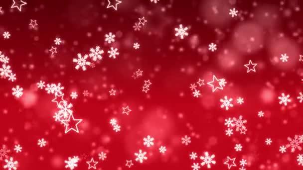 Abstraktní padající částice sněhové vločky čočky světlice na červenou tmavou smyčku 4K pozadí.