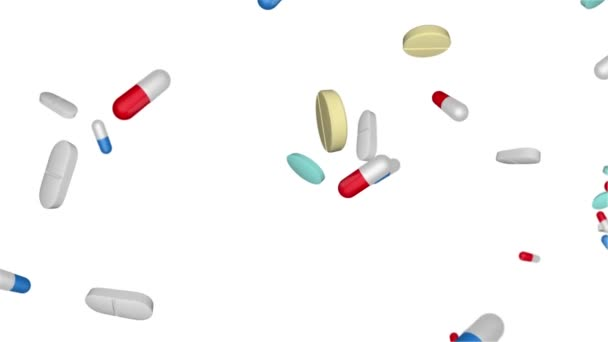 White Round Pills Falling Seamless Looped 3d Animation