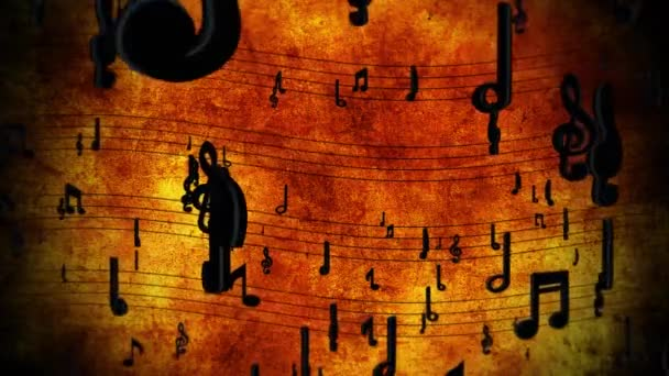 Sheet music with notes in motion Loop Animation. Notes flow over the musical lines.