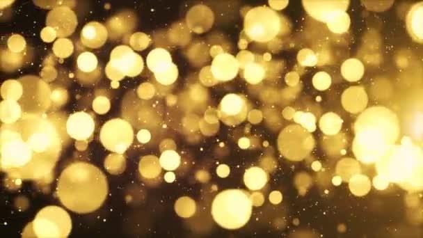 3D zlatý plovoucí prach Bokeh částice ve vzduchu s erupcí na černém smyčce pozadí v pomalém pohybu animace