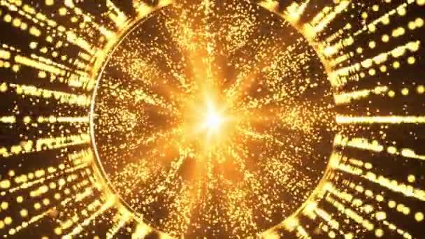 4K Tmavě zlaté světlo vlny digitální Bezešvé smyčka částice pozadí.