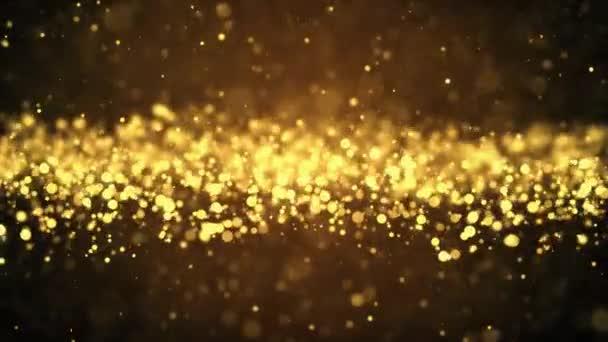 Abstraktní pohyb pozadí zářící zlaté částice hvězdy jiskry pohyb vlna smyčka animace.