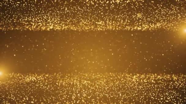 Abstrakt 4K Krásné digitální zlaté částice Vlnění a světelné pozadí se zářící podlahou částice hvězdy prach světlice.