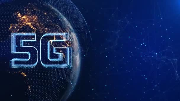 5g High Speed Internet Connection of Internet of things IOT Night Globe Network Loop,