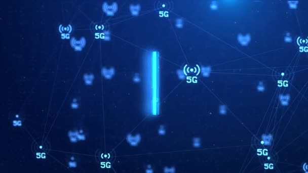 4K 5g Technology Background Of Signal Transmission Internet Of Things Network Node Connection.