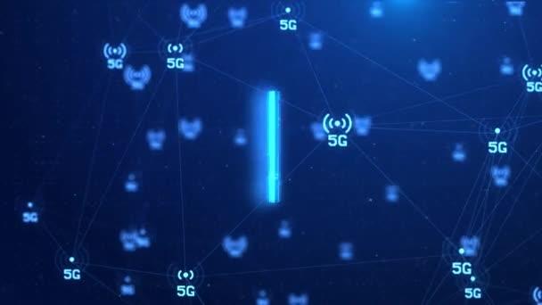 4K 5g Technologie Hintergrund der Signalübertragung Internet der Dinge Netzwerkknotenverbindung.