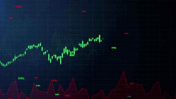 Abstract background with animation of growing charts and flowing counters of numbers