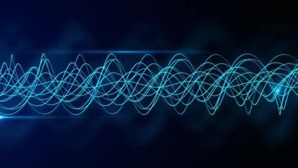Modré abstraktní vlny na černém pozadí Digitální animace informací o technologii.