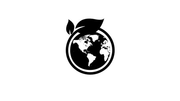 Eco environment electric Green leafs and globe logo Animation. Eco, natural, organic icon